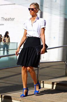 White + Black Pleated Skirt