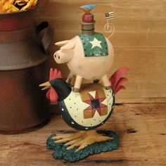 Pig Stacked on Rooster Figurine