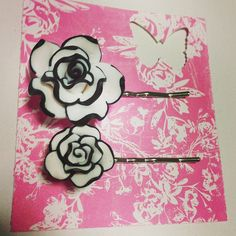 polymer clay flower bobby pins