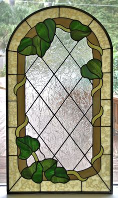 Ivy Vine Stained Glass Window Panel
