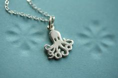 Small Octopus Necklace, Sterling Silver Pendant, Miniature Charm Jewelry, Ocean Creature, Sea Animal