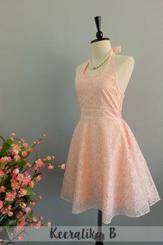 My Lady IV - Floral Halter Dress Spring Summer Dress Baby Pink Lace Dress Bridal Beach Dress Pink Lace Wedding Bridesmaid Dress XS-XL