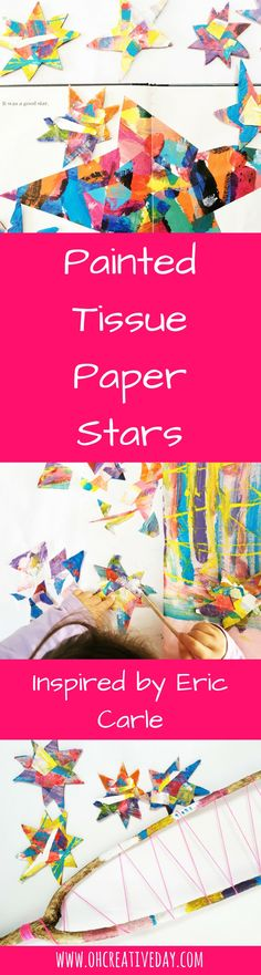 "This Eric Carle craft was inspired by his gorgeous book ""Draw Me a Star."" We painted tissue paper and then created paper stars to make a wall hanging. Easy Kids Art Projects, Easy Art For Kids, Creative Activities For Kids, Crafts For Kids, School Projects, Eric Carle, Book Crafts, Paper Crafts, Star Wars"