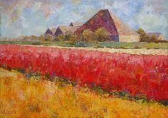 """Een impressionistisch """"Bollenveld bij Callantsoog"""" door """"Hans van der Vloed"""""""