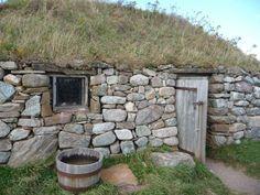 Scottish Croft, Cape Breton Highland Village From: Uploaded by user, no url Scottish Cottages, Highland Village, Stone Masonry, Underground Homes, Cape Breton, Thatched Roof, Cabins And Cottages, Earthship, Stone Houses