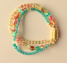 Swarovski Crystal 3 Strand Bracelet Spring by MAGICALUNIVERSE, $30.00