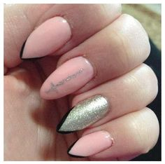 Pink and silver stiletto nails