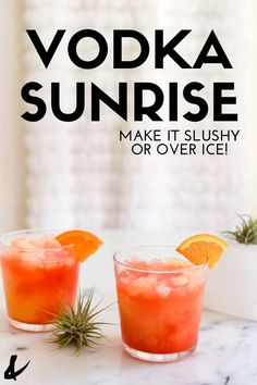 This 3 ingredient Vodka Sunrise recipe with vodka is easy to make and super pretty! Make it slushy or serve over ice. This refreshing cocktail with orange juice and grenadine is perfect for spring and summer. Drinks With Grenadine, Vodka Mixed Drinks, Easy Mixed Drinks, Cocktails To Make With Vodka, Orange Juice And Vodka, Raspberry Vodka, Vodka Recipes, Alcohol Drink Recipes, Vodka Sunrise Recipe