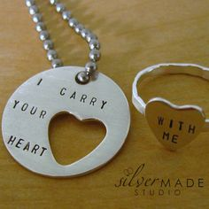 I carry your heart. LARGE DISC KEYCHAIN and heart cut out ring. via Etsy.