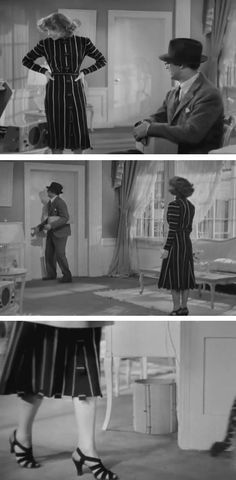 Katharine Hepburn, Bringing Up Baby. Love the way this striped dress is cut and pieced. And then there are THE SHOES.