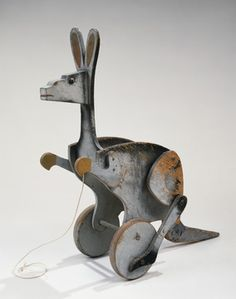 "Kangaroo, 1927 - Alex Calder, american artist.  some of Calder toys are reedited by Vilac a french firm.  Wood, paint, and string  18 1/2"" x 20""  Private Collection  A10359"