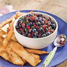 Fresh blueberries provide the sweet while jalapeño pepper, bell pepper and cilantro provide the savory. Serve with toasted flour tortilla strips for an easy appetizer or side dish.