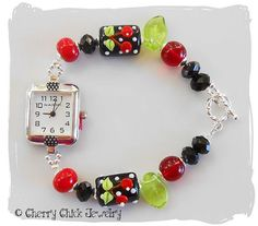 Cherry Lampwork Beaded Watch by CherryChick on Etsy