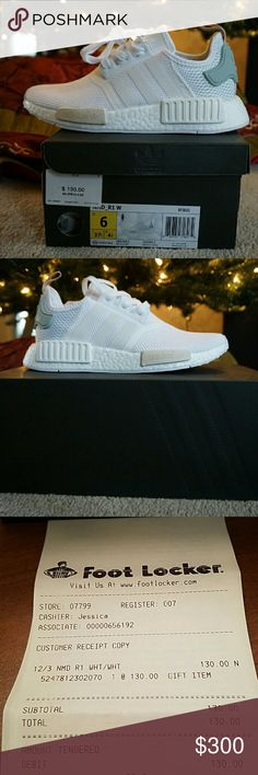 Womens NMD R1 W I work at Lady Footlocker and they are deadstock. I paid full price for these. Discounts didn't work. NEVER TRIED ON BY ANYONE! Adidas in the US hasn't released these yet because I was trying to get them on December 3rd but they took them down the night before they released. I called and they said they will release them on another day.  A size 6 runs large. It can fit a size 6.5-7.5  NO RETURNS  Receipt will be in box for authenticity  Price negotiable Adidas Shoes Athletic…