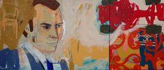 Selina Saranova, I don't know him 84x195cm.  acrylic on canvas
