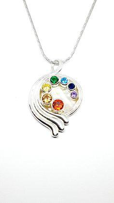 7 Chakras Pendant by David J. David J, 7 Chakras, Jewelry Design, Fashion Jewelry, Concept, Pendant Necklace, Jewellery, Sterling Silver, Crystals