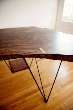 Modern Geometric Live Edge Slab Desk Claro by TaylorDonskerDesign, $3800.00