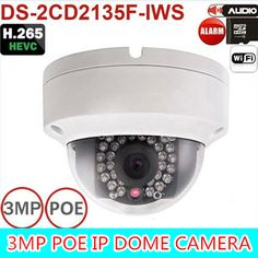 2016 New multi-language firmware DS-2CD2135F-IWS 3MP Mini Dome Camera IR Network IP Camera Support PoE and SD card store