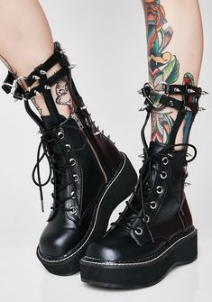 Demonia Devil In Disguise Caged Boots  #goth #punk #alternative
