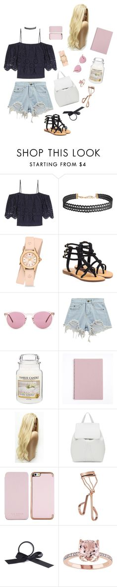 """% TANA MONGEAU INSP."" by houseplants ❤ liked on Polyvore featuring Ganni, Humble Chic, Michele, Mystique, Oliver Peoples, Chicnova Fashion, Yankee Candle, Mansur Gavriel, Ted Baker and Tweezerman"