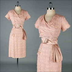 Vtg 1950s Mauve Pink Lace Satin Dress
