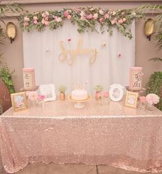Bridal shower decorations - Boho-chic bridal shower - pink + gold party {Courtesy of Kara's Party Ideas} Deco Baby Shower, Floral Baby Shower, Shower Party, Baby Shower Parties, Baby Shower Themes, Shower Ideas, Babyshower Themes For Girls, Shower Gifts, Baby Shower Table Set Up