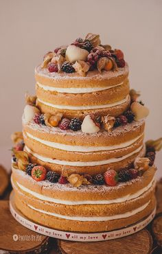 I don't know why but I think naked wedding cakes with fresh fruit are so charming!