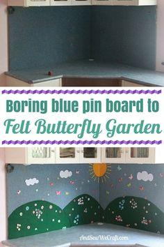 Turn a boring blue pin board into butterfly garden DIY