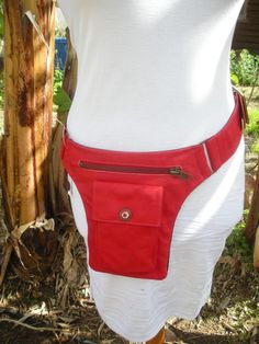 Red Hip Bag, soft leather, handmade, bum bag, security pouch, trendy, belt pocket, wide belt, travel pouch, festivals, markets