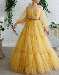 Details - Yellow bumblebee dress color - Tulle dress fabric - Embroidered crystal and leaves on waist - A-line gown with long sleeves and waist definition - For special occasions Prom Party Dresses, Evening Dresses, Formal Dresses, Dress Party, Formal Prom, Quinceanera Dresses, Homecoming Dresses, Bridesmaid Dresses, Dresses Dresses