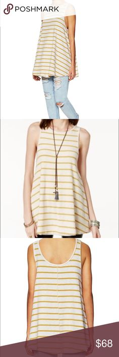 """NWT free people top garden top Description: Knit cotton-blend top  Graphic stripes throughout Scoopneck Tonal top stitching and panel seaming Measurements:  42"""" circumference at bust; 31"""" from shoulder to hem; taken from a size S/P Models height is 5' 9"""" Material: 95% cotton and 5% spandex Free People Tops"""