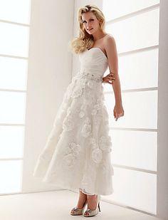 A-line Sweetheart Ankle-length Organza Wedding Dress - USD $ 178.19