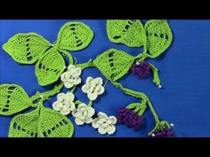 ▶ Irish Crochet Blackberry Motif part 1, leaf - YouTube