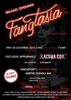 Fangtasia Poster by AcidBunni on DeviantArt True Blood, Dark Ages, After Dark, Grand Opening, Neon Signs, Halloween 2014, Fan Art, Deviantart, Vampires