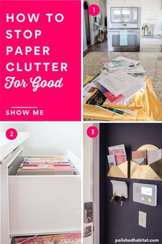 Paperwork from mail to homework can take over a clear counter in hours. And once paper starts piling up, it seems to attrack other clutter to the area too. Implementing this simple, customizable plan for dealing with paper will help keep your counters clear for good. Refrigerator Organization, Kitchen Cabinet Organization, Home Office Organization, Organization Hacks, Organizing Tips, Vegan Kitchen, Kitchen Recipes, Paper Clutter, Inspired Homes