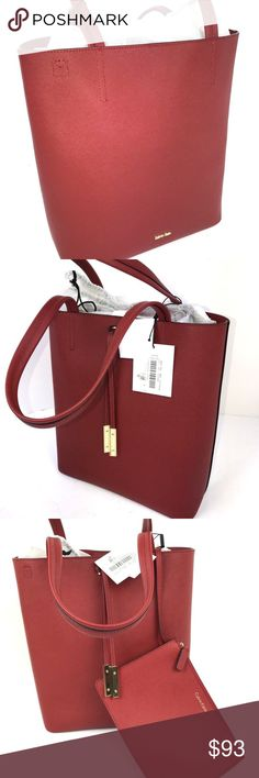 """Calvin Klein L-Kalina tote with pouch Red Leather Clean lines and polished gold-tone hardware make the Calvin Klein Kalina bag a true standout. An optional crossbody strap and handy (removable) zip pouch provide bonus on-the-go easy.  12.5""""w x 13""""h x 5""""  Retail $198 Calvin Klein Bags"""