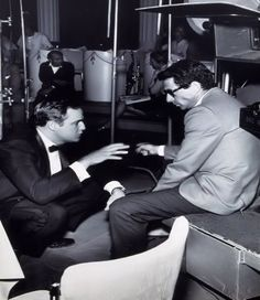 "• Marlon Brando with director Arthur Penn on the set of ""The Chase"" C.1966."
