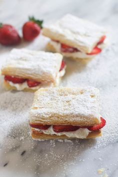 Strawberry and Cream Napoleans - The Baker Chick
