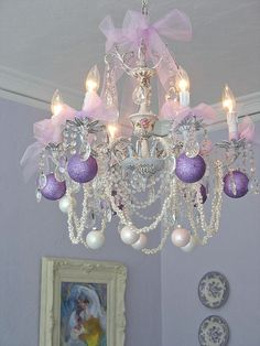 Pink ribbon and found bling chandelier.