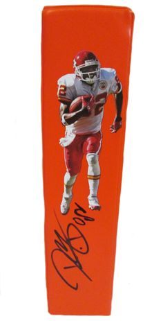 Dwayne Bowe signed KC Chiefs Rawlings football touchdown end zone pylon w/ proof photo.  Proof photo of Dwayne signing will be included with your purchase along with a COA issued from Southwestconnection-Memorabilia, guaranteeing the item to pass authentication services from PSA/DNA or JSA. Free USPS shipping. www.AutographedwithProof.com is your one stop for autographed collectibles from Kansas City sports teams. Check back with us often, as we are always obtaining new items.
