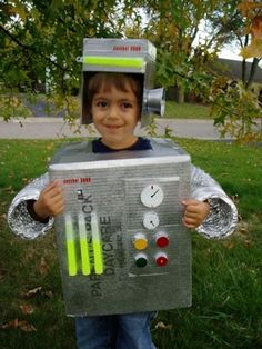 robot costume with glow sticks