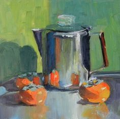 Coffee Pot with Persimmons still life oil painting by Robin Weiss, painting by artist Robin Weiss