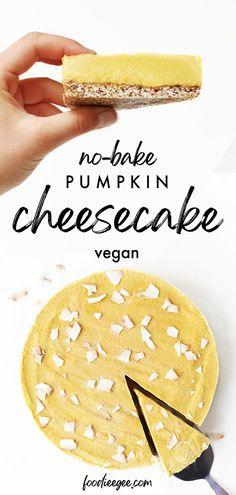 Healthy Vegan Pumpkin Cheesecake recipe for a no-bake gluten free refined sugar free dessert. Pumpkin spice cashew cream cheesecake filling on a date pie/tart crust. An easy sweet treat fall dessert #thanksgiving #falldesserts #fallrecipes #pumpkinpie #glutenfree #vegan #plantbased #pumpkinspice #cheesecake #dairyfreecheesecake #refinedsugarfree #nobakecheesecake #dairyfree #healthy #nobake #vegandessert #pumpkindessert #pumpkin #pumpkinrecipes #rawdessert #sugarfree #pumpkin #rawcake Vegan Pumpkin Cheesecake Recipe, Dairy Free Cheesecake, Vegan Pumpkin Pie, Baked Pumpkin, Pumpkin Dessert, Pumpkin Recipes, Pumpkin Spice, Vegan Cheese Recipes, Healthy Vegan Desserts