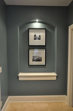 Basement paint color for an accent wall or down the stairs - Benjamin Moore Mountain Laurel