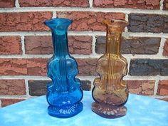 2 Antique Vintage Violin Bottles Amber Cobalt Musical Instrument