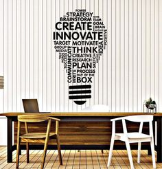 Vinyl Wall Decal Lightbulb Inspire Words Business Office Art Decor Stickers Mural Large Decor Black photo ideas from NEO Home Decor Office Wall Graphics, Office Wall Decals, Office Mural, Office Artwork, Office Walls, Vinyl Wall Decals, Vinyl Art, Wall Stickers Quotes, Office Wall Design