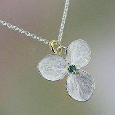 Blue Topaz Pendant, Hydrangea Flower Necklace, Sterling Silver Flower, Delicate Necklace, Unique Necklace, 18k Gold Details, Made to Order