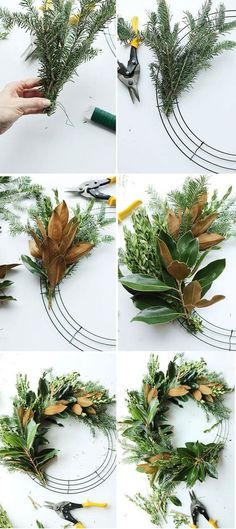 DIY Fresh Magnolia Mixed Branch Wreath | Creative, Easy, and Inexpensive Christmas Wreaths | Farmfoodfamily.com Holiday Wreaths, Holiday Crafts, Holiday Decor, Fresh Christmas Wreaths, Christmas Leaves, Southern Christmas, Christmas Flowers, Spring Crafts, Diy Y Manualidades