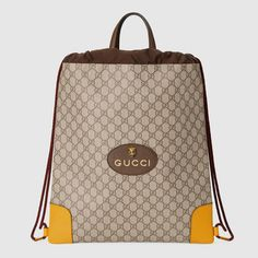 c61af24efd7 Details about GUCCI Auth 473872 K9RKT 8858 Backpack GG Supreme Drawstring  Yellow New  0484