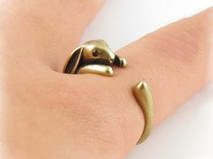 Antique gold rabbit wrap adjustable ring, Animal lover jewelry.